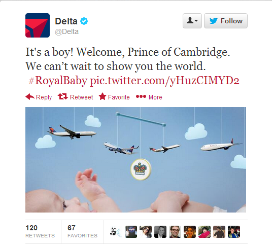 royal baby delta air